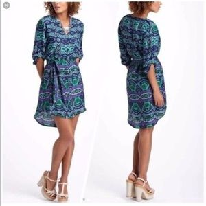 Anthro Maeve Frequencies Ikat Shirt Dress